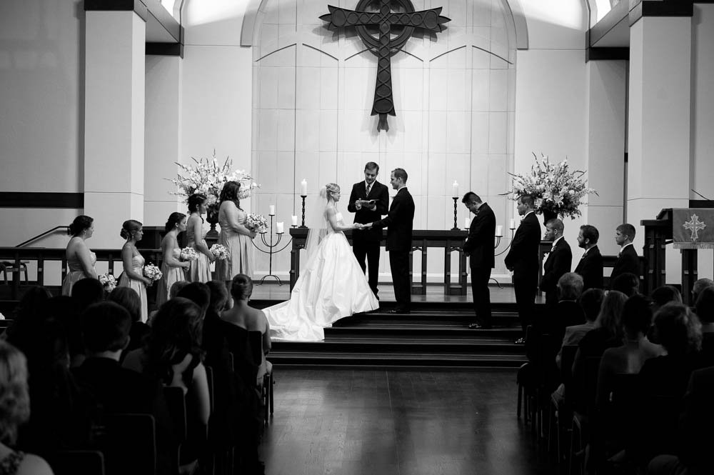 bride and groom at christ the king presbyterian houston