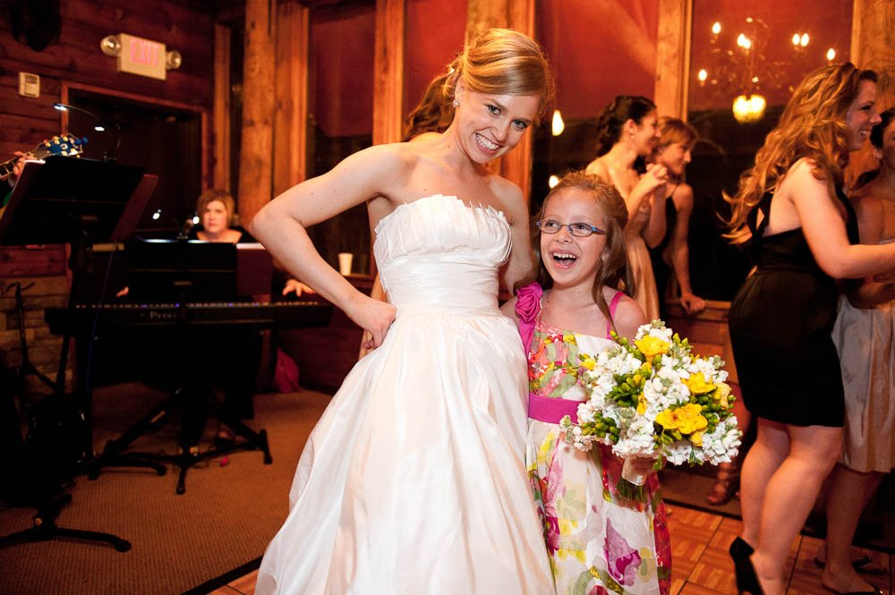 bride and the bouquet catcher