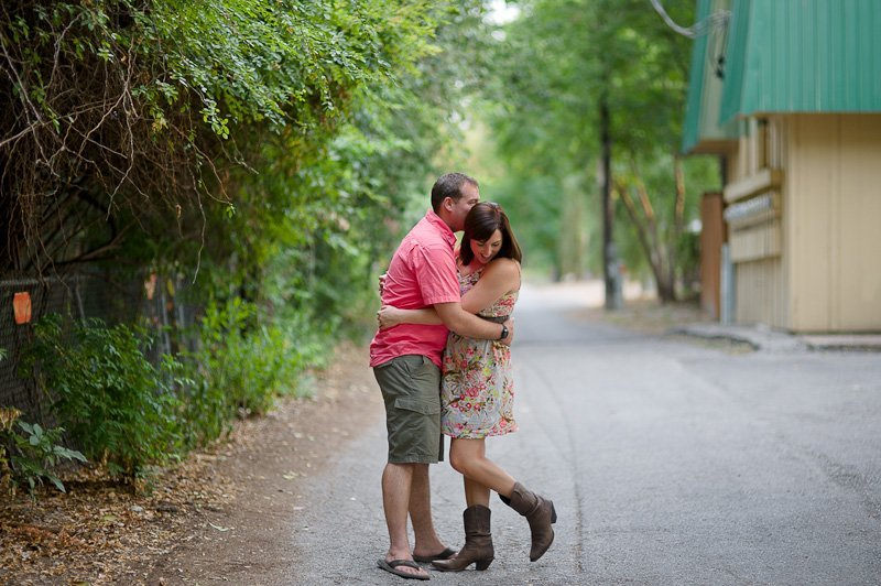 couple kissing on south congress engagement session