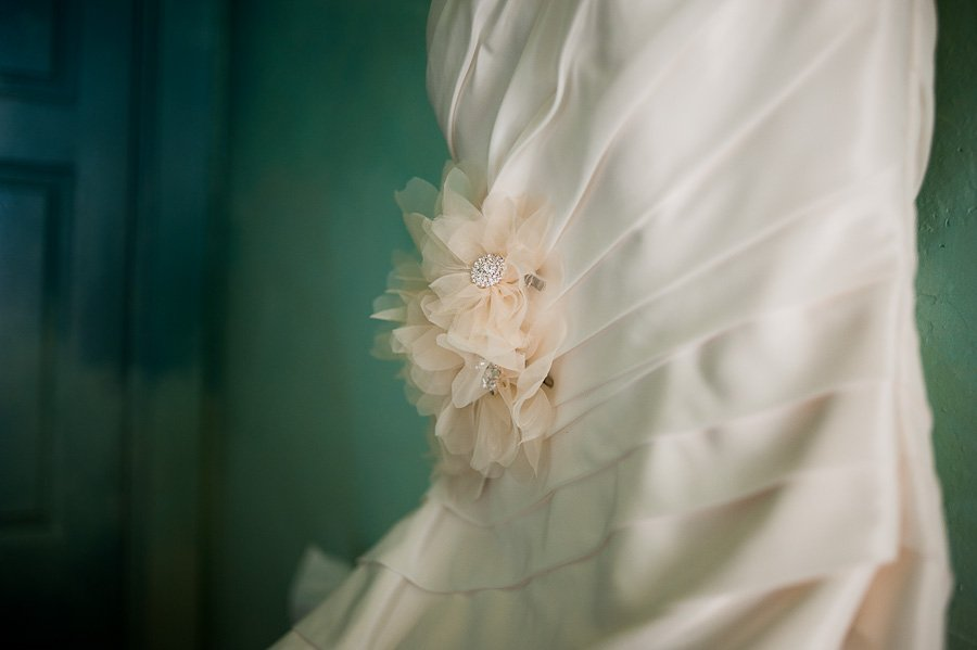 fabric flower on dress detail, austin wedding photographer, austin lifestyle photographer