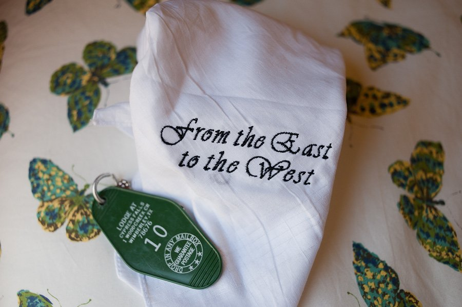bride gift, from the east to the west saying, vintage detailed wedding in austin texas