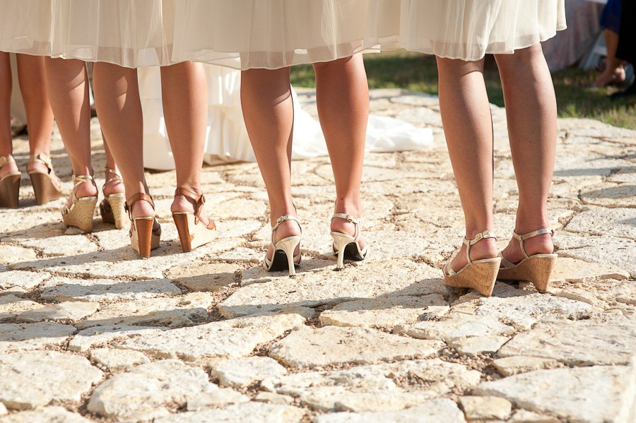 bridesmaids shoes and dresses at altar, austin wedding photography, rustic ranch wedding wimberley