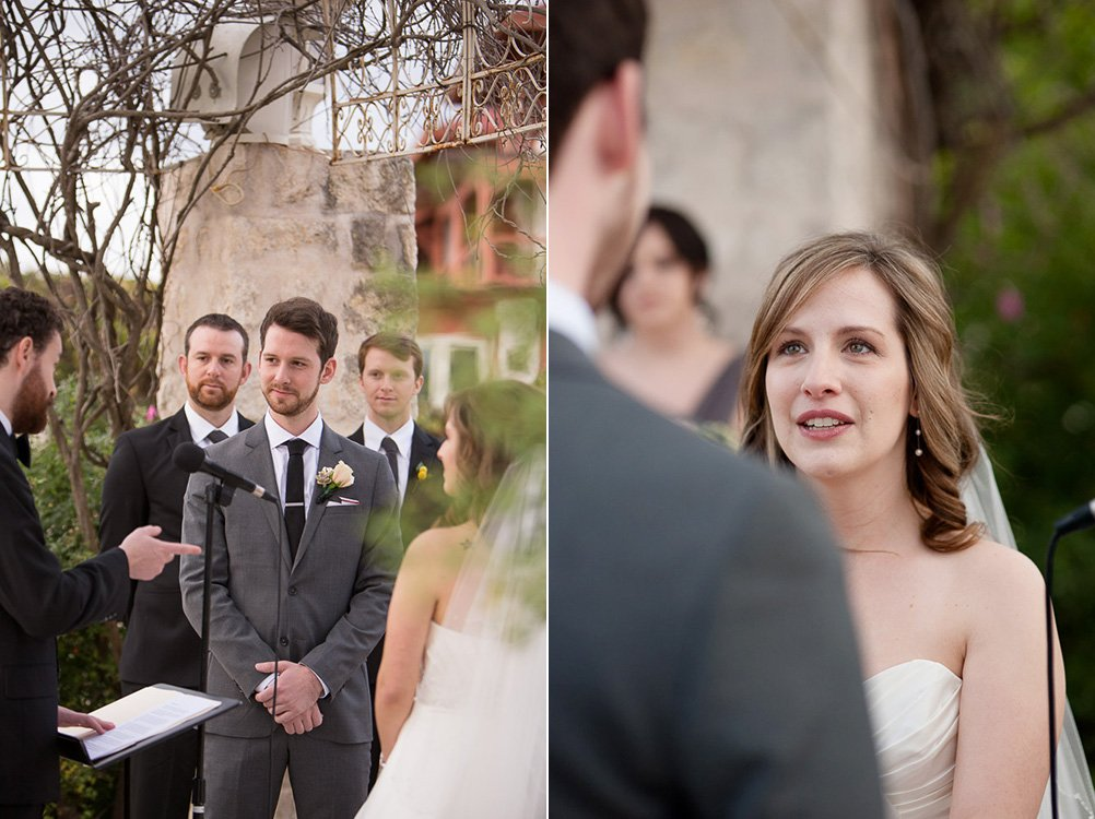 bride and groom smile at each other during ceremony, vintage villas ceremony, photojournalistic wedding photography, caitlin mcweeney photography, austin texas wedding photographer