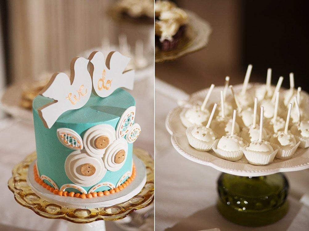 dessert buffet cake details, polkadot cupcakes cake, vintage button cake decorations, austin wedding photographer