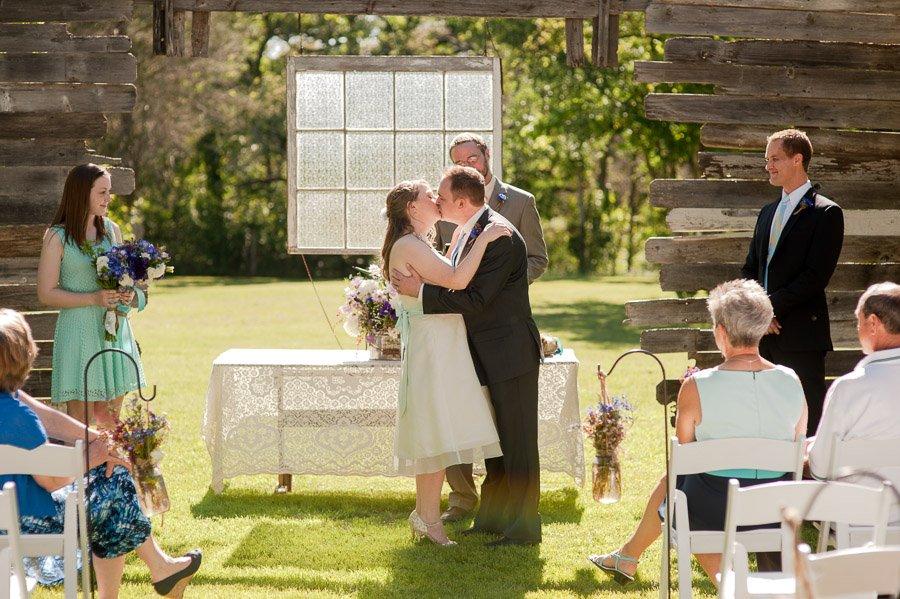 cedar bend events center wedding, cedar bend wedding, offbeat bride wedding, offbeat couple, DIY wedding, cocktail length dress, BHLDN dress
