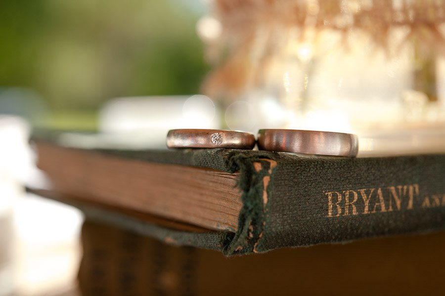 wedding rings on an old book
