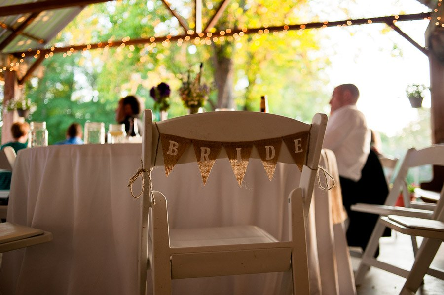 burlap pennant sign on back of chair, bride pennant on burlap