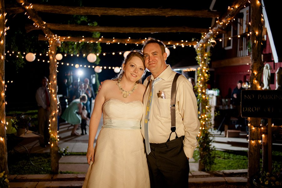 twinkle lights wedding portrait, grand exit portraits cedar bend events