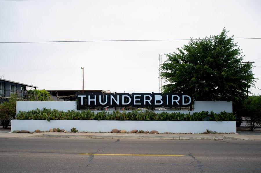 thunderbird hotel at dusk in marfa texas