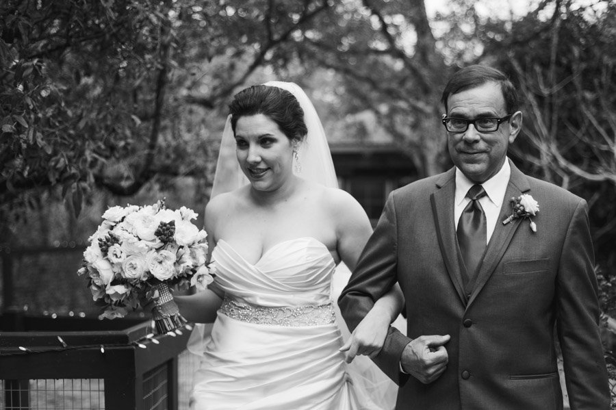 red corral ranch wedding, wimberley wedding, curvy bride, black and white photo of bride and dad, austin black and white wedding photography