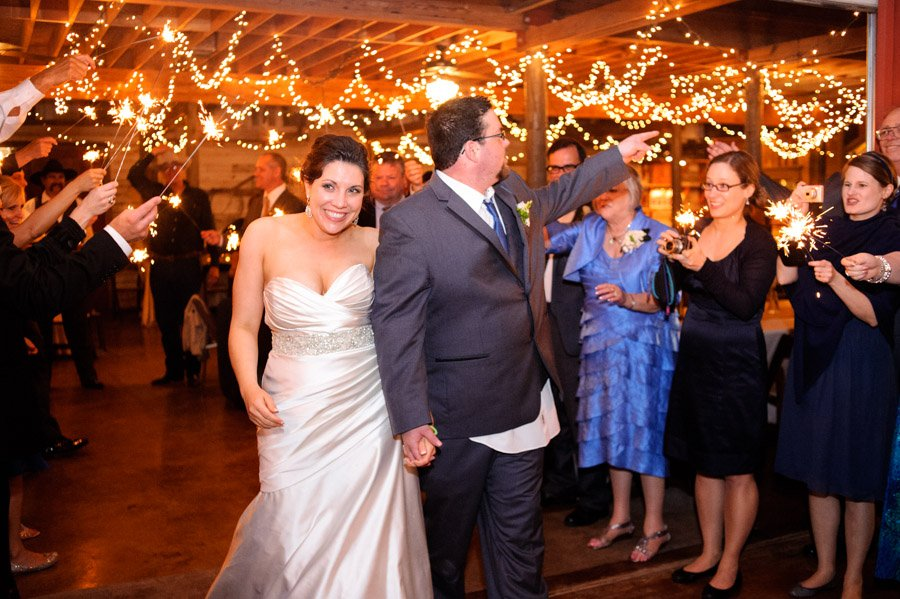 red corral ranch wedding exit, sparklers grand exit, hill country wedding, twinkle lights reception hall