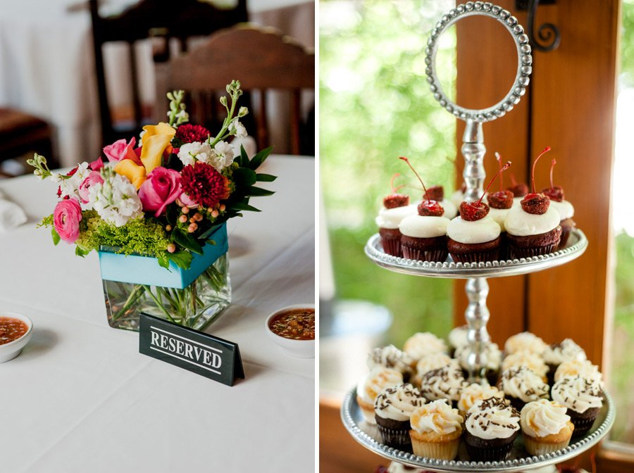 intimate wedding details of cupcakes and brightly colored floral centerpieces