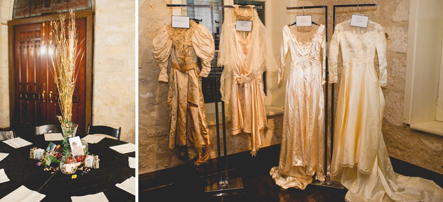 southwest school of art wedding details including vintage wedding dresses