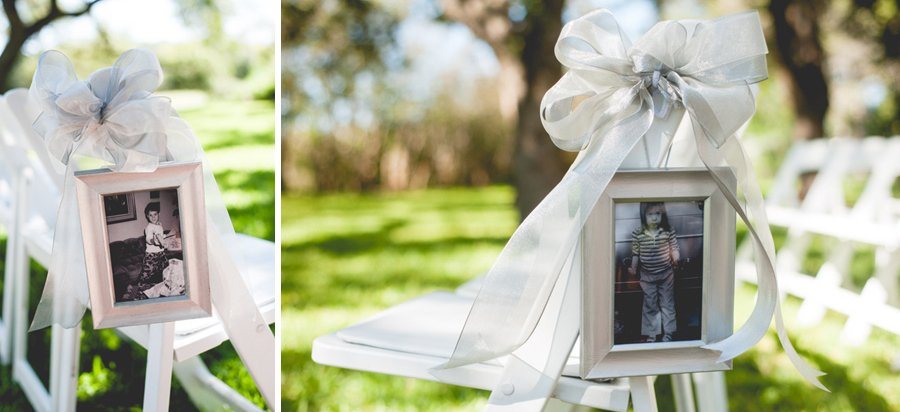 childhood photos to designate which side of the aisle guests should sit