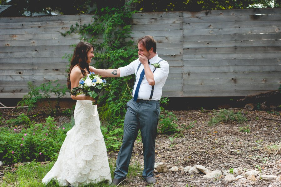 groom sees his bride during the first look at springdale farm in austin texas, springdale farm rustic wedding,