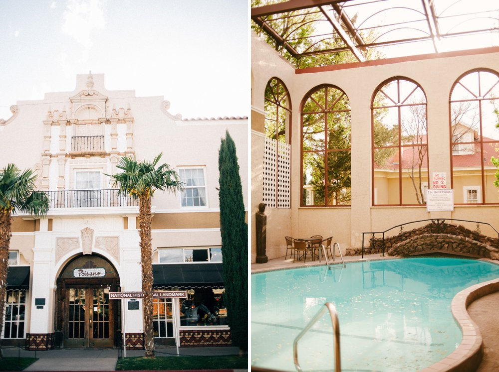 hotel paisano outside and inside at the indoor pool