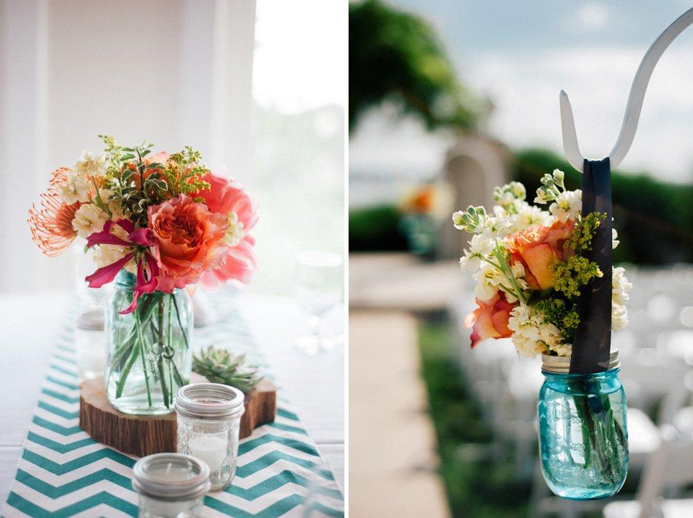peony and snapdragon flower arrangements at vintage villas austin, tiny flower arrangements and blue jars at vintage villas