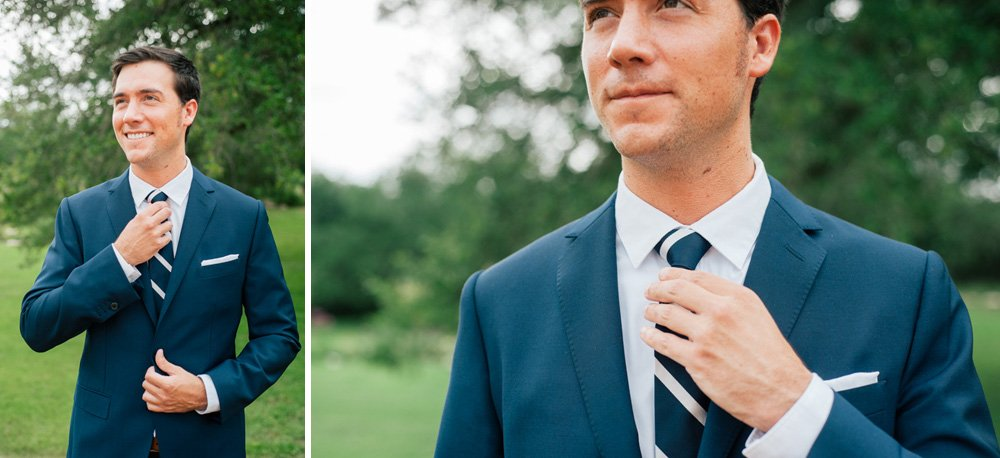 contemporary wedding photography in austin and texas, kyle wedding photography at the plant at kyle, groom adjusting tie like gq photo in austin