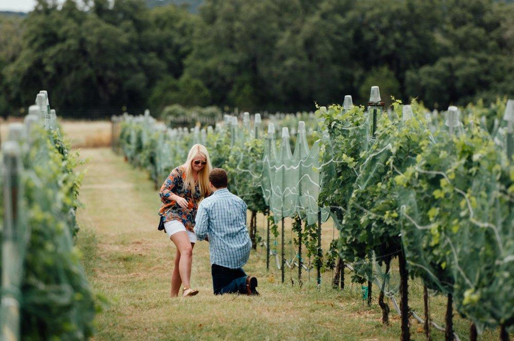proposal photographer in austin, secret vineyard proposal in austin texas
