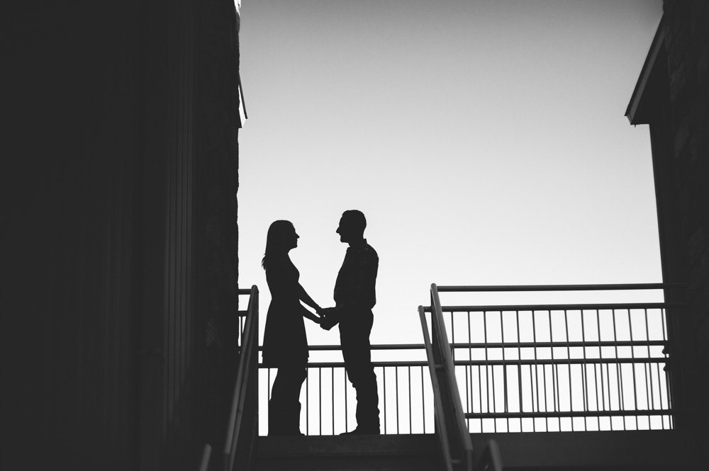 silhouetted couple at an engagement session in texas, black and white engagement photos