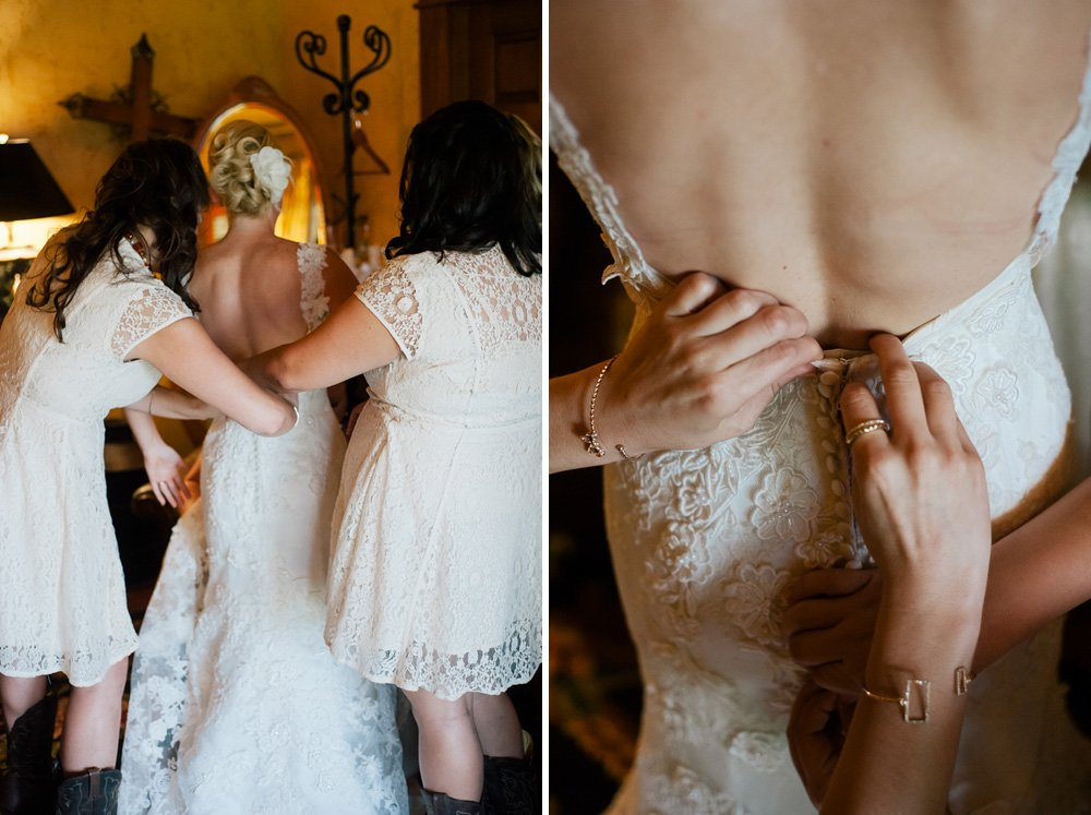 backless dress getting ready with bridesmaids at old glory ranch wimberley