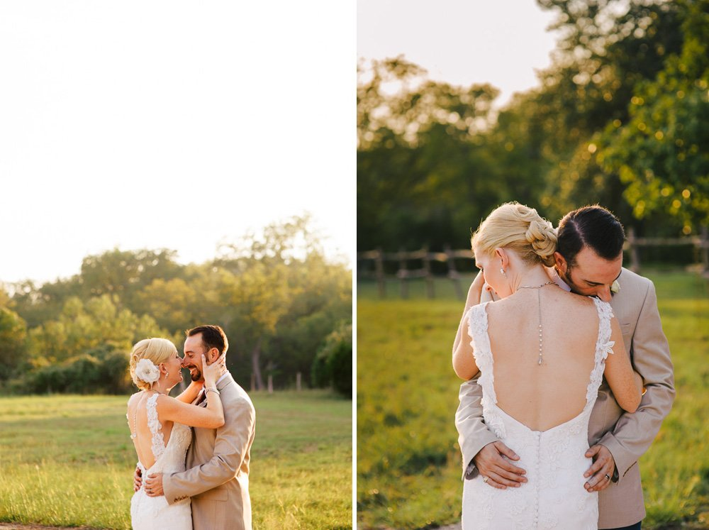 justin alexander dress,, fall texas wedding sunset portraits, old glory ranch wedding photography, bride and groom in a field at old glory ranch