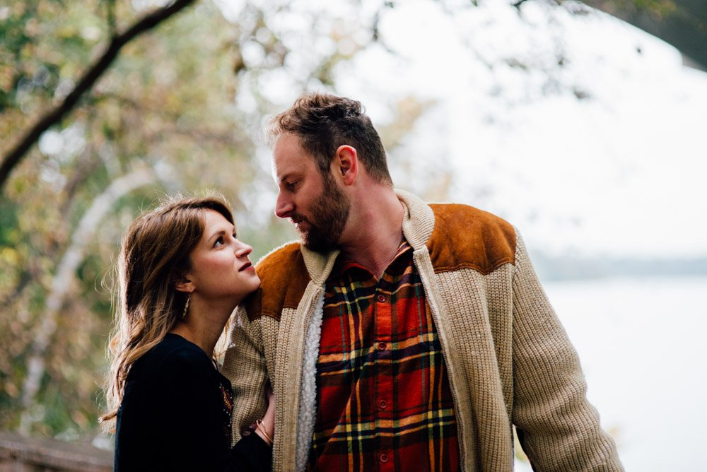 happy couple looking at each other during austin engagement photographer, all natural engagement photography in austin, austin modern wedding photography, creative south austin engagement photography