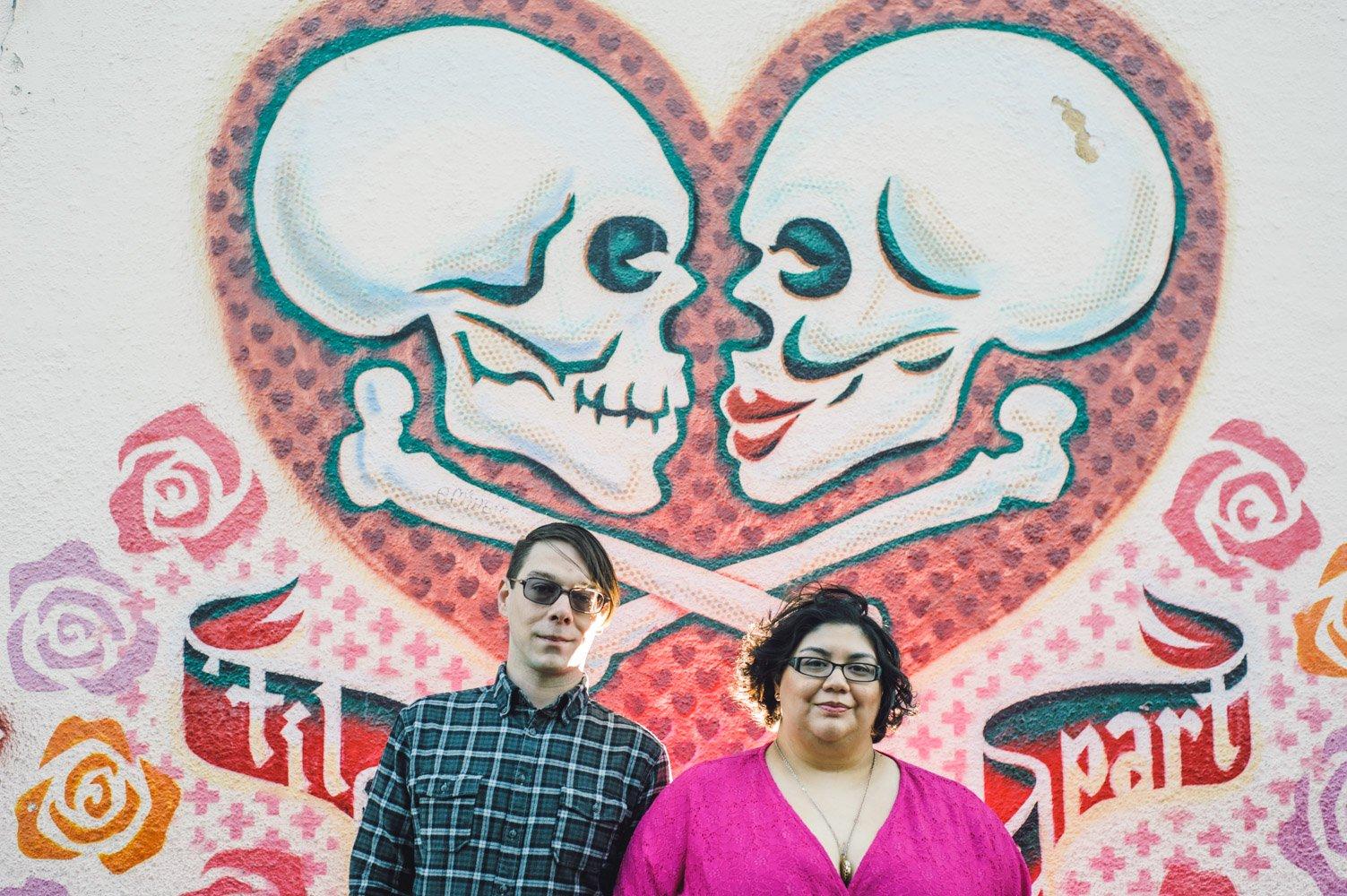 Dia de los muertos downtown austin engagement session for Dia de los muertos mural