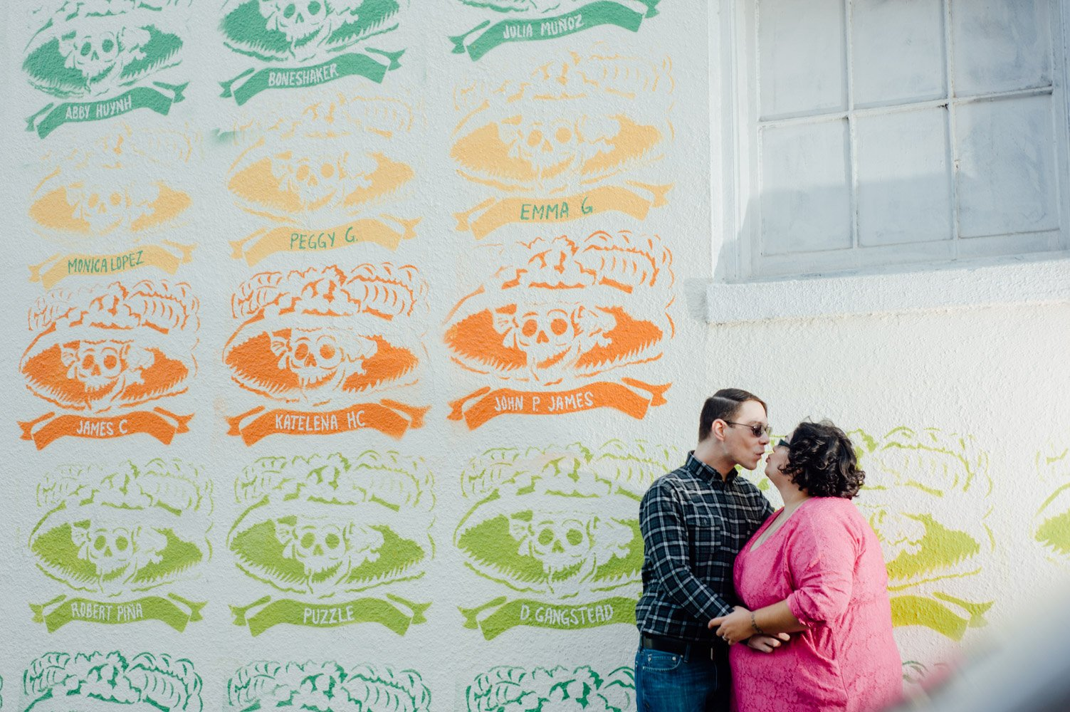 dia de los muertos mural austin, plus size engagement photos, texas wedding photographer, downtown austin portrait session, central austin creative wedding photography,