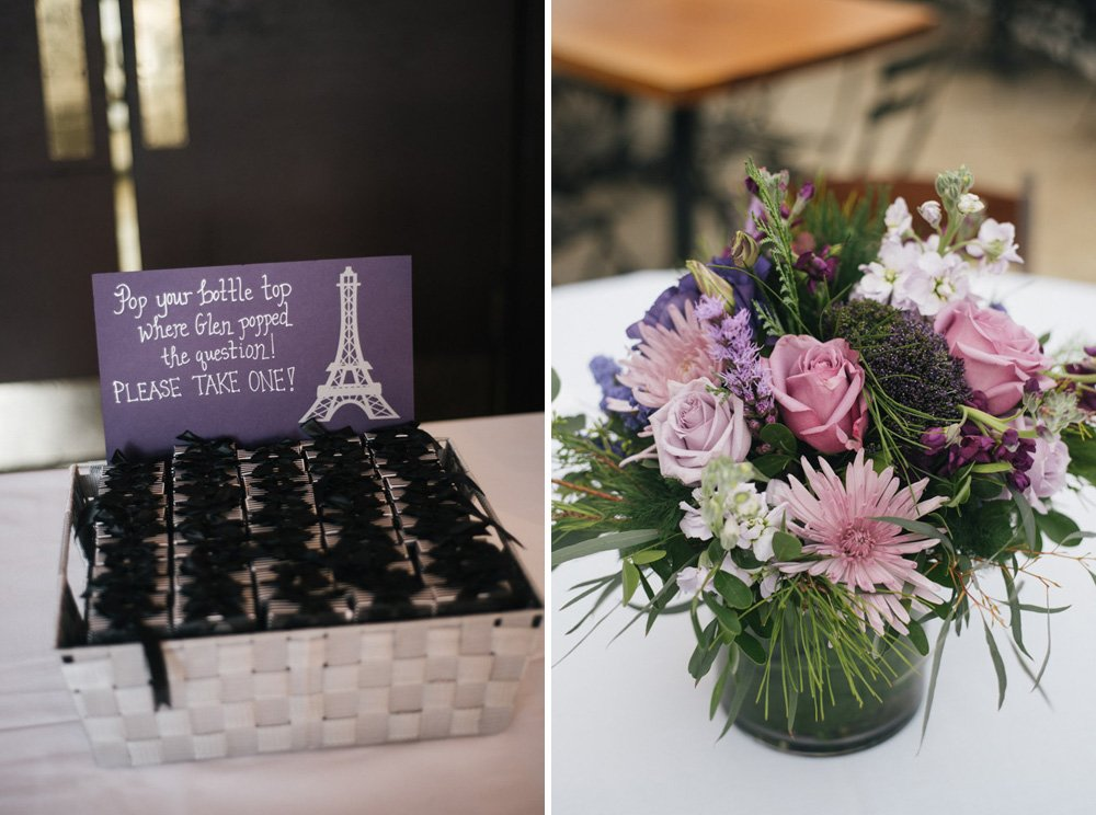 parkside details, purple and green wedding details, eiffel tower bottle opener, paris themed wedding reception