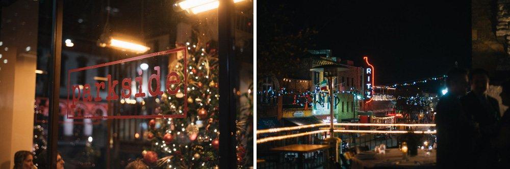 christmas elopement at parkside austin, parkside reception, downtown austin indian wedding reception, winter wedding at parkside