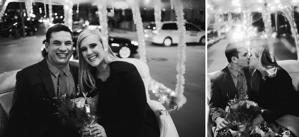 carriage ride downtown black and white, austin proposal photographer, surprise proposal downtown, best proposal photographs, new year's eve proposal austin texas, she said yes photographer, austin engagement photographer, w hotel engagement photography