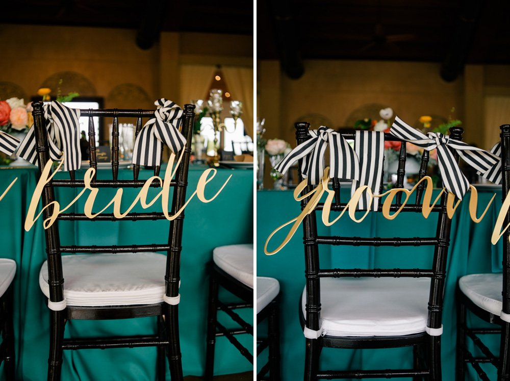 antebellum oaks austin wedding, kate spade inspired wedding photographs, austin wedding photographer under 3000,  custom gold calligraphy chair signs, bride and groom calligraphic chair backs, gold and teal wedding in central austin, teal and stripes wedding at antebellum oaks in austin, antebellum oaks wedding photography