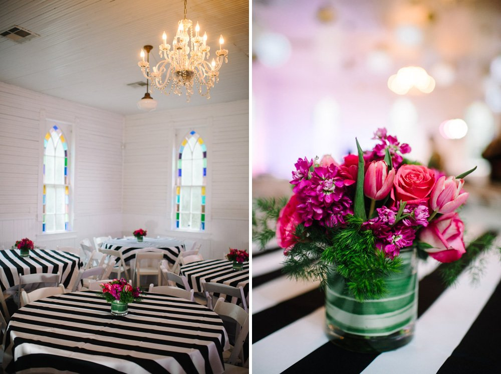 pink and striped wedding decorations at mercury hall, premier linens and rentals at mercury hall, austin wedding photographer, pink green and black wedding colors