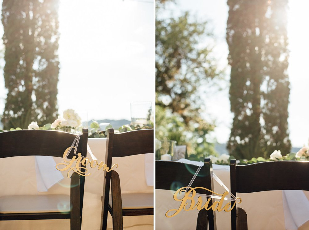 diy bride and groom chair signs, bride and groom chairs, detail of chair signs for a laguna gloria wedding