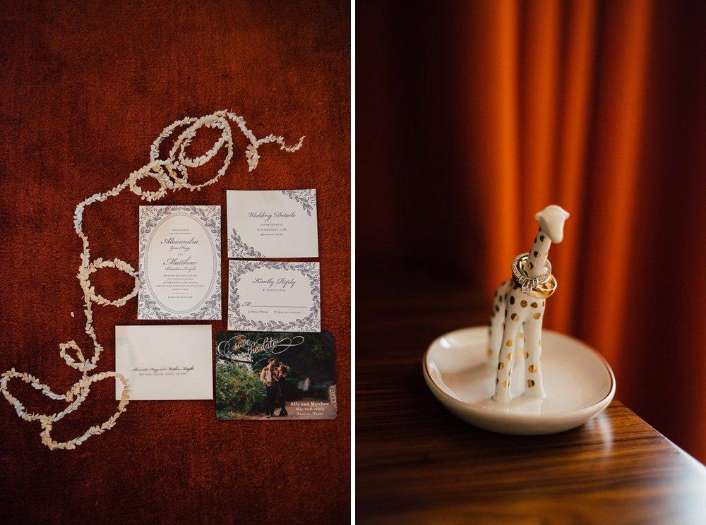 lavender letterpress wedding invitation suite, anthropologie giraffe wedding ring holder, giraffe trinket tray, wedding rings on a giraffe, classical invitation suite, wedding invite ideas
