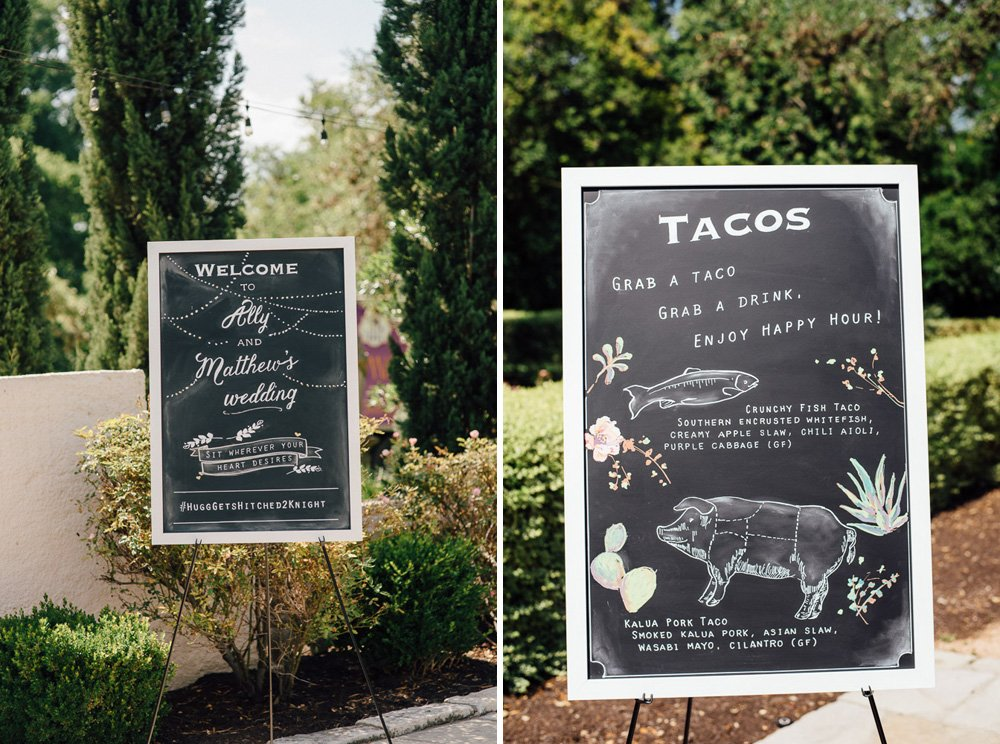 custom chalkboard signs with wedding information