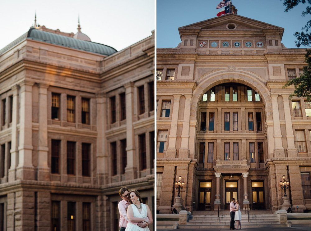 night engagement photographs at the Texas Capitol in austin