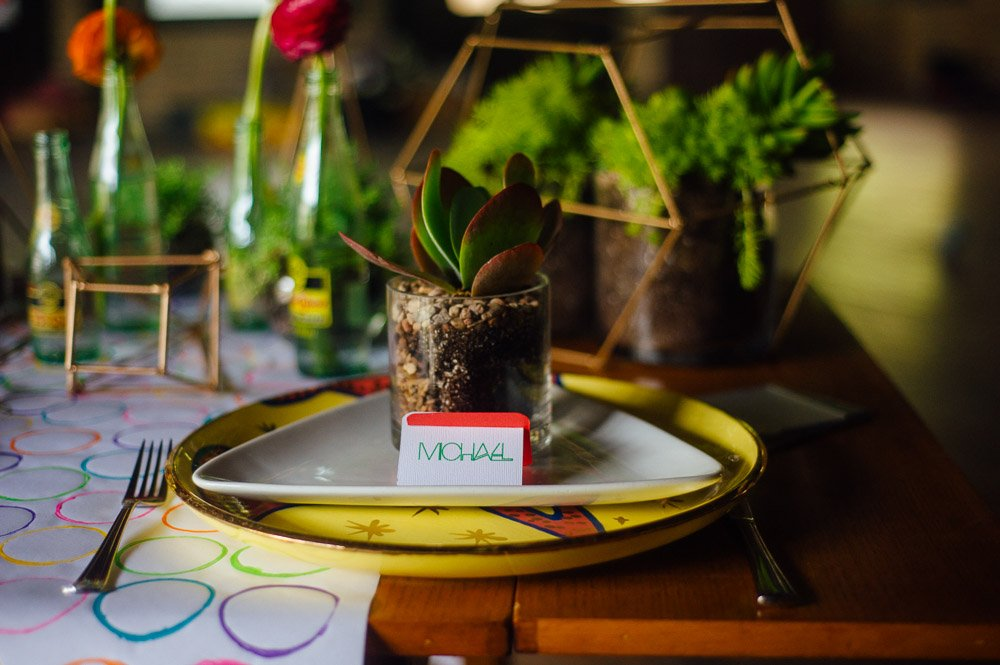 mid century mod styled shoot with succulents at waller ballroom