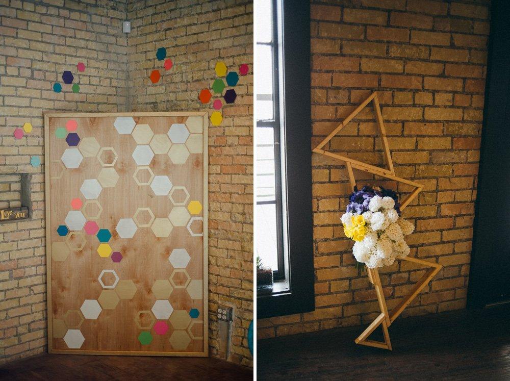 hexagonal wedding decor details at waller ballroom, austin styled shoot at waller ballroom in austin