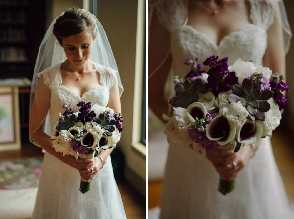 bride getting ready in austin wildflower center with spring bouquet, central market flower bouquet purple and white