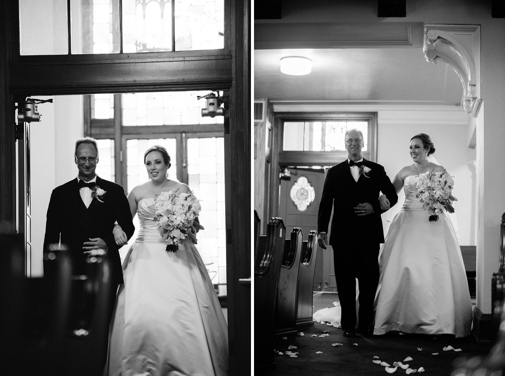 formal wedding photography of bride walking down aisle with father, black and white wedding photograph of bride and father walking down aisle at university baptist church austin, summer wedding at downtown austin church