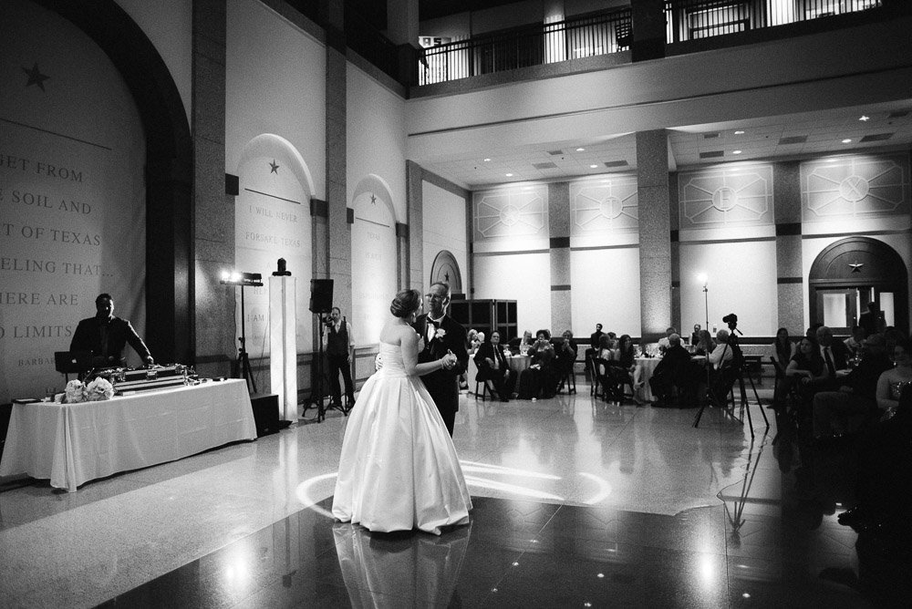 black and white photographs from a downtown austin wedding reception