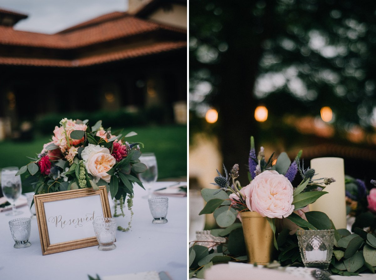pink and green rustic centerpieces at a spring wedding in the austin hill country, lake austin weddings, golf club wedding in austin