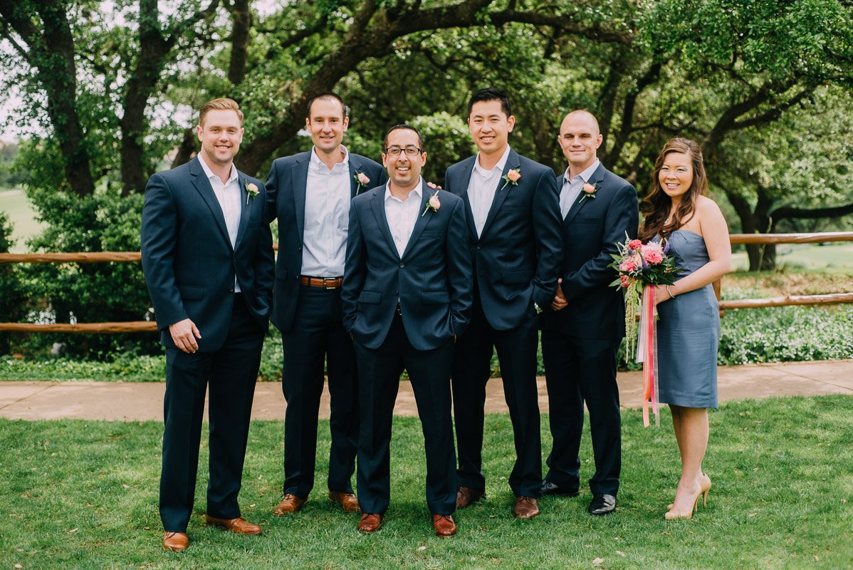 grey groomsmen suits and cognac shoes