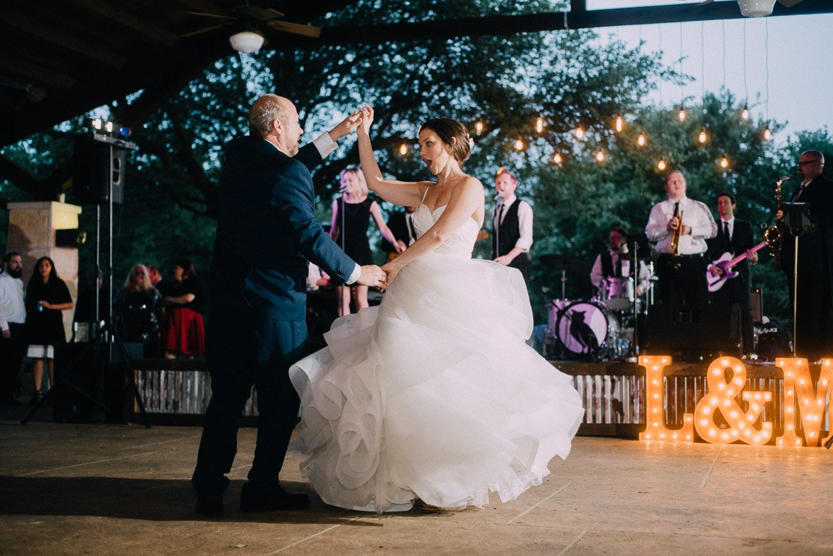 emotional father daughter dance with the matchmaker band in austin texas, father daughter dance photos, best father/daughter dance