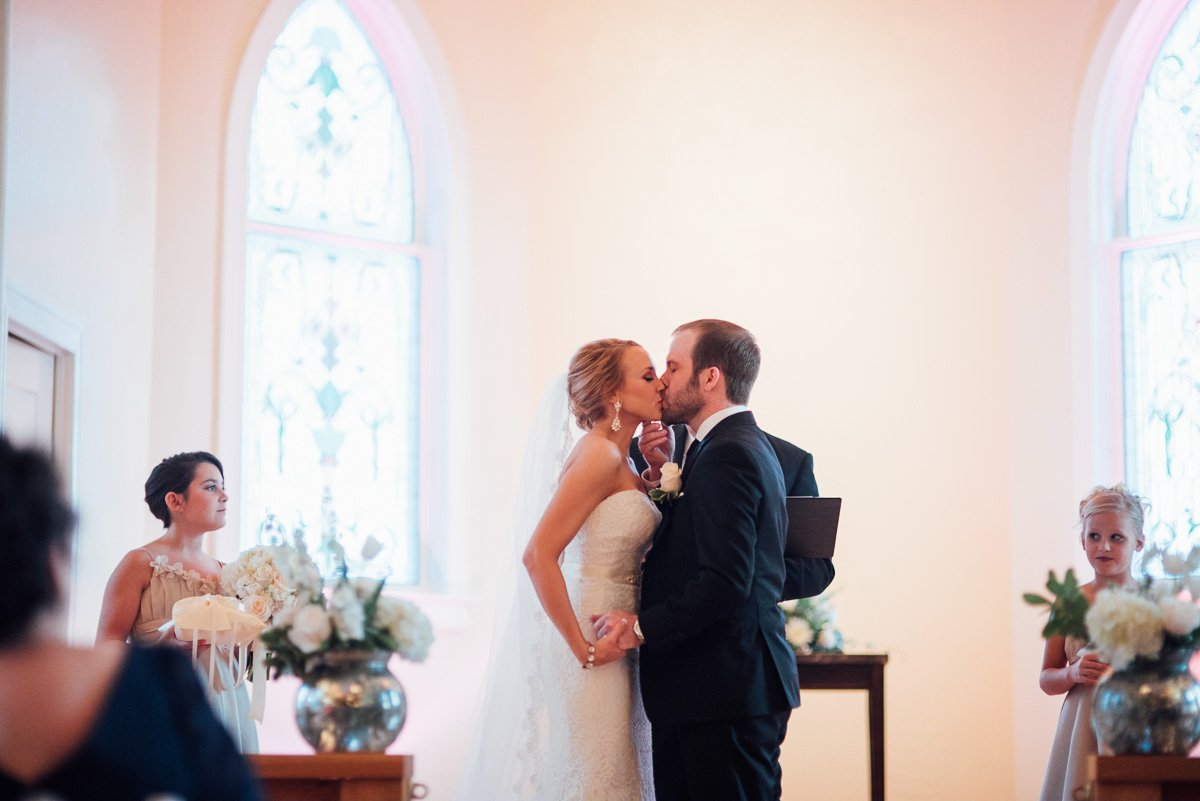 documentary wedding photography in DFW, DFW wedding photography, romantic first kiss photo