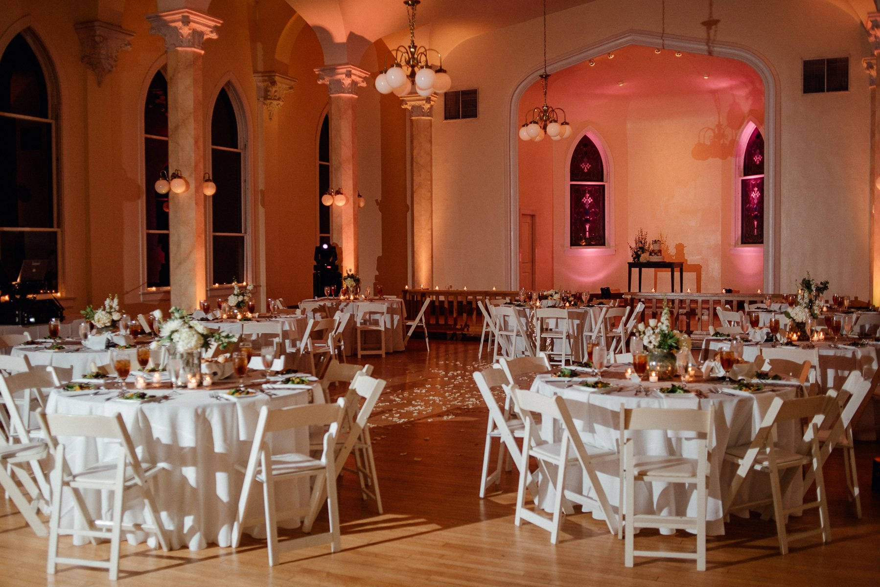 winter wedding at victory arts center in fort worth, wedding reception set up for 80 people,