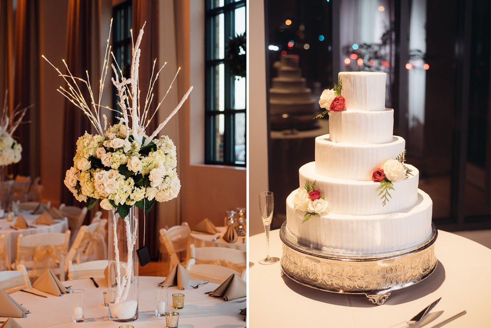 bass performance hall wedding, bride cake and centerpiece at bass performance hall wedding, winter white wedding details at night