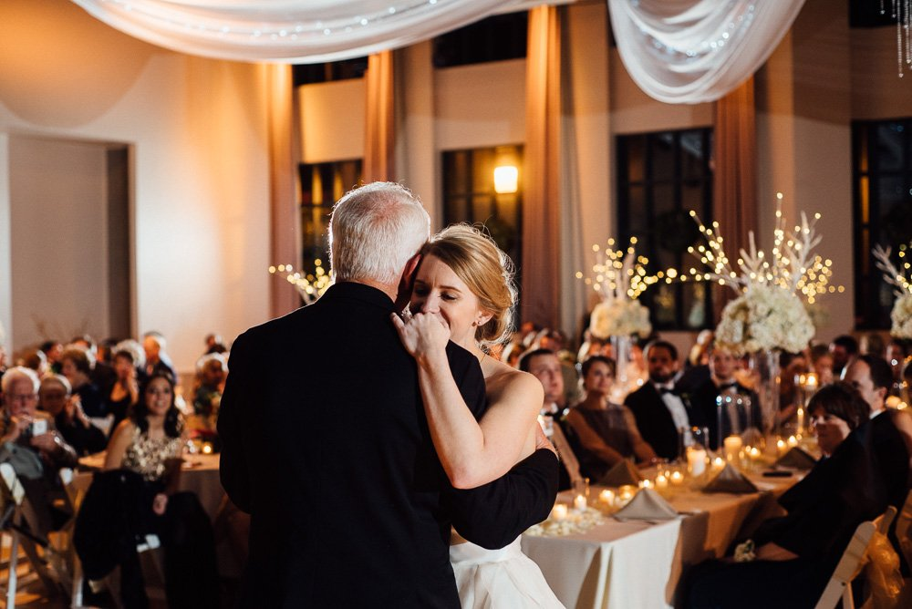 father daughter dance in the maddox muse center, winter white wedding